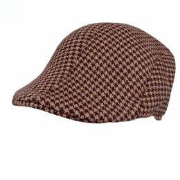 90e724c121a Vintage Duckbill Driving Flat Lvy Beret Cap Cotton Houndstooth Newsboy  Peaked Sport Hat Golf Cabbie Hat