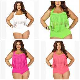 Two piece high waisT swimwear online shopping - Woman Swimsuit Swimwear Lady Bikini Femme Two Piece Suits High Waist Plus Size Obesity Tassels With Chest Pad Adult sc V