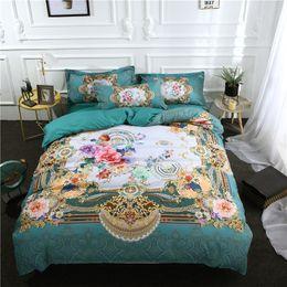 Discount royal blue bedding - Luxury Royal High quality Blue flower 4 3pcs Bedding Set Duvet Cover Pure color Bed sheet Pillow case Queen Size
