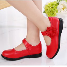 Flower Shoes Kids NZ - Red Girls Kids Flowers Children Genuine Leather Single Shoes For Teenagers Girls Student Party Wedding Dance Princess Dress Shoes In School