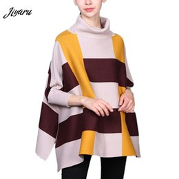 Shirt Poncho Australia - Female Girls Fashion Shawl Spring Autumn Shirts for Women Girls Three Quarter Sleeves Women Poncho High Collar Ladies Cloak