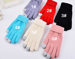 Discount touch fingers - Jacquard gloves autumn and winter outdoor warm knit men women classic solid color warm touch screen cute magic five fing