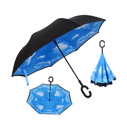 Fishing Light Hook NZ - Drop Shipping Windproof Reverse Folding Double Layer Inverted Chuva Umbrella Self Stand Rain Protection C-Hook Hands For Car