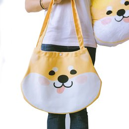 $enCountryForm.capitalKeyWord Canada - Japanese Cute Design Huskies Shiba Inu Handbag Shoulder Bag Women Portable Canvas Shopping Bag Students Reusable Tote