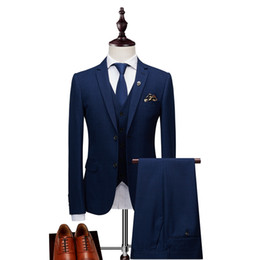 $enCountryForm.capitalKeyWord UK - 2018 Luxury Plaid Men's Suits Party Wear Costume Trois Piece Homme Formal Suit Men Groom Wedding Dress Blue Navy Tuxedo