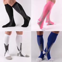 Soccer Legs Canada - Cycling Soccer Socks Long Sleeve Unisex Leg Support Stretch Magic Compression Fitness Football Basketball Socks Performance Running Sports