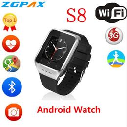 ZGPAX S8 Smartphone Relógio Inteligente Android 4.4 MTK6572 Dual Core GPS 2.0MP Câmera WCDMA WiFi MP3 MP4 Smartwatch PK QW09 venda por atacado