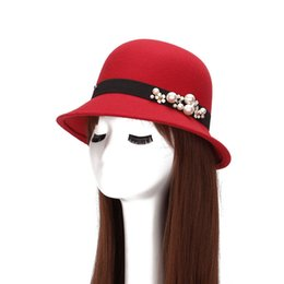 HT1222 Elegant Ladies Retro Pearl Winter Women Hat Wide Brim Solid Wool  Felt Bowler Floppy Cloche Caps Female Wholesale 2af7949e939a