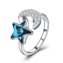 $enCountryForm.capitalKeyWord NZ - Fashion sterling silver crystal from swarovski elements star moon shaped opening ring girlfriend gift SVR278