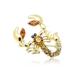 gold crystal scorpion NZ - Shiny Crystal Scorpion Brooches for Women Garment Jewelry Rhinestone Insect Brooch Pin Fashion Dress Coat Accessories Gold Corsage