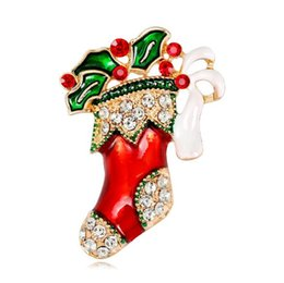 f52f18b6b44 Christmas Brooches Pins Wholesale UK - Fashion Colorful Crystal Christmas  Boot Brooch Pins Red Green Enamel