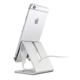 Wholesale Universal Aluminum Metal Cell Phone Tablets PC Desk Stand USB Charger Dock For iPhone Desktop Sync Stand