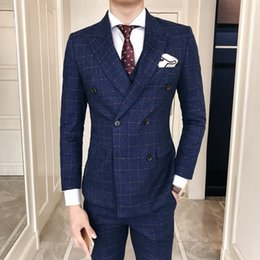 Beige Slim Suits For Men Canada - Double Breasted Mens Suit Vest With Pants 3 Piece Retro Classic Plaid Slim Fitted for Men Wedding Navy Clothes Mauchley 2018