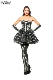 $enCountryForm.capitalKeyWord NZ - Adult Ladies Terror Skull Skeleton Costume Sexy Halloween Carnival Scary Skull Skeleton Tulle Tube Dress Masquerade Party Outfit