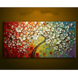 $enCountryForm.capitalKeyWord Australia - New Modern Oil Painting on Canvas Palette knife Colorful large Flowers Paintings House living room Decor Wall Art Picture