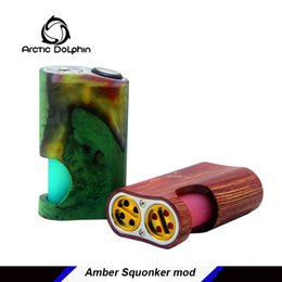 Chinese  Original Arctic Dolphin Amber Stabilized Wood Squonk Mod Squonker electronic cigarette powered by single 18650 battery manufacturers