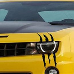 Discount claws sticker - 10pcs Funny Scratch Decals Claw Marks Auto Headlight Vinyl Car Stickers Reflective Stripe Car Styling 40cm*12cm