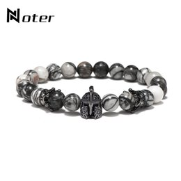 Wholesale Noter Natural Stone Beads Crown Cubic Zirconia Bracelet Fancy Helmet Spartan Braclet For Men Hand Jewelry Pulseira Masculina