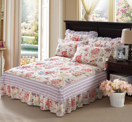 pink bedspreads queen size NZ - flowers 1pcs Bed Skirt 100% coon Maress cover twin full queen size Single double bed Bedspreads bed skirt in bedroom