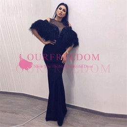 turkish soiree dresses UK - 2019 Arabic Black Feathers Evening Dresses Turkish Muslim Dubai Formal Mermaid Prom Dress African Party Gowns Robe de soiree