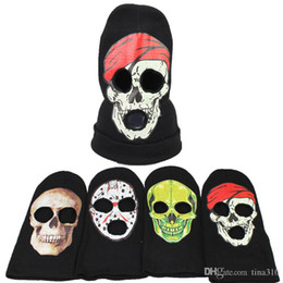 3889fbda8ee6a New 4 Designs Halloween Horror Knitted Headband Ghost Mask Cosplay Hat Cool  Demon Winter Beanies IC778