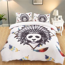 $enCountryForm.capitalKeyWord NZ - wholesale panda beddings sets queen size India animal feather duvet Cover With Pillowcases Cartoon Bed Set