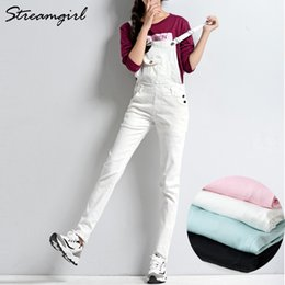 $enCountryForm.capitalKeyWord NZ - White Jumpsuit Denim Overalls For Women Elegant Female Pink Jumpsuit Jeans Denim Pants With Straps Ladies Jumpsuits Cotton