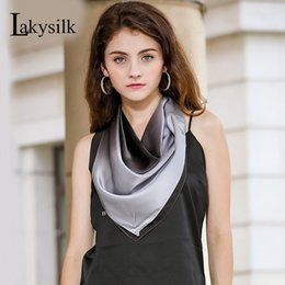 $enCountryForm.capitalKeyWord NZ - [Lakysilk]100% Real Silk Scarf Women Ladies Designer Silk Satin Solid Smooth Square Scarves For Bag,Neck,Head,Hair Accessories