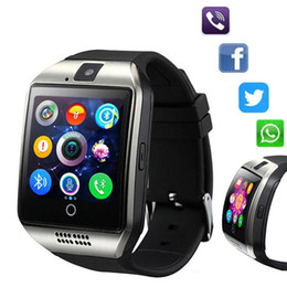 Sim card Supporting watch online shopping - Q18 Smart Watch Bluetooth Smart watches for Android Cellphones Support SIM Card Camera Answer Call With Retail Box