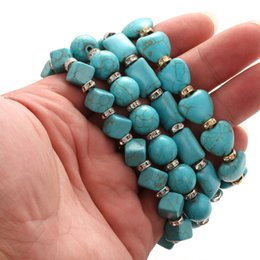 Discount silver chain designs for man - Wholesale Natural Stone Beads Bracelets 4 Designs Crystal Turquoise Beads Bracelet for Men Women Couple Bracelets Jewelr