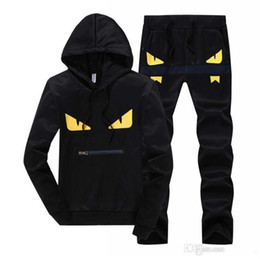 hooded outwear mens UK - Devil eyes men's tracksuits patchwork sportswear hoodies+pants sets mens hoodies and sweatshirts outwear suits free shipping