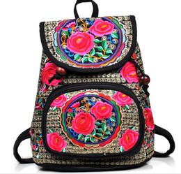 $enCountryForm.capitalKeyWord Australia - Red rose Embroidery Women Bag Back Packs Bag Embroidered rucksack bag Ladies Bags
