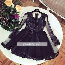 Discount mini pick up dress - Sexy V Neck Black Cocktail Dresses Long Illusion Sleeves Sequins Tulle Above Knee Length Prom Party Gown Formal Occasion