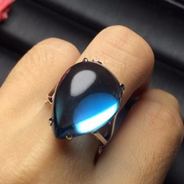 Discount vip link - VIP LINK Customize Size Real 18K Rose Gold AU750 Jewellery 100% Natural Blue Topaz Gemstone Love Rings for Female water