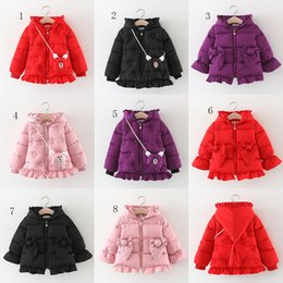 new european jackets 2019 - New Baby girls Thickening Outwear ruflle edge Down Coat Kids Winter Clothes Boutique Hooded Jacket 8 styles C5418 discou