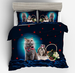twins girls Canada - New 3PCS Cat dog Print 3D Bedding Sets For Boy's Childrens Girls Home duvet Cover Pillowcases twin queen king size Home textile