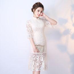 4518c8d53 2018 New Chinese Style Mandarin Collar Cheongsam Lace Qipao Elegant White  Wedding Bridesmaid Dress Long Vestido De Festa S-XXL