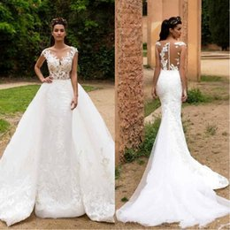 Discount lace detail wedding dresses - 2018 Lace Mermaid Wedding Dresses With Detachable Skirts Sheer Cap Sleeves Tulle Applique Wedding Bridal Gowns With Butt