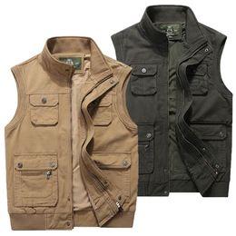 Khaki Tactical Vest NZ - Men Multi-Pocket Classic Waistcoat Male Sleeveless Unloading Solid Coat Work Vest Photographer Tactical Masculino Jackets