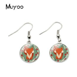 earring design patterns 2019 - 2018 New Design Fox Pattern Hook Earrings Glass Round Dome Animal Earings Hand Craft Women Earring 2 Colors Jewelry chea