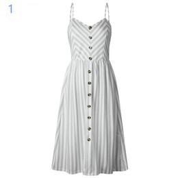 f646654e6 Las mujeres del verano de la manera de la vendimia de la bohemia floral  túnica túnica vestido de playa del vestido de bolsillo rojo blanco vestido  de rayas ...