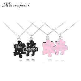 Enamel Stitching BFF Necklaces 2 Girls Best Friends Forever Charm Necklace Black Pink Splfriendship Birthday Gift Students