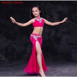 Royal Performance Suits Australia - Fashion Child Girls Oriental Dance Backless Diamond Top and Ruffled Hem Skirt Cut out Suit Performance Competition Indian Rumba Tango Costum