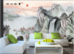 Discount water ink painting - 3d wallpaper custom photo River, river, water, flying crane, boat, ink painting, background wall 3d wall muals wall pape