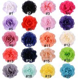 "White Rose Crafts Australia - 10pcs lot 3.2"" Chiffon Fabric Rose Flower Flatback For Girls Hair Accessories Hand Craft DIY Chiffon Flowers No Clips"