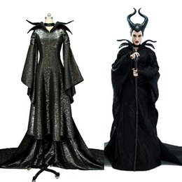 Maleficent Movie costuMes online shopping - Movie MALEFICENT Angelina Jolie Cosplay BLACK Dress Costume Version B For Women Halloween Carnival Women Men Full Set