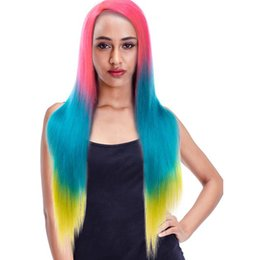 MediuM long straight hair online shopping - Brazilian Wigs Human Hair Lace Front Wigs Tone Ombre TPink Blue Yellow Color Fairgreat Non Remy Straight Long Wigs