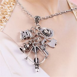 day dead pendants Australia - The Popular TV Drama The Walking Dead Necklace Unique Charm Axe Skull Arrow Sliver Alloy Metal Pendant Necklaces for Fans Dropshipping