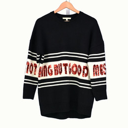 Brand Designer Sequined Letter Sweaters 2018 Autumn Winter Women Fashion  Wool Black Oversized Pullovers Casual Loose Knitted Jumper Tops 903ec0375