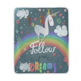 Boy Kid Beds UK - Cute Unicorn Beautiful Rainbow Blanket Soft Warm Cozy Bed Couch Lightweight Coral Fleece Blanket Throw for Kids Women Boy